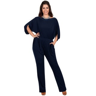 KOH KOH Women's Plus Size Batwing Sleeves Round High Neck Cocktail Jumpsuit