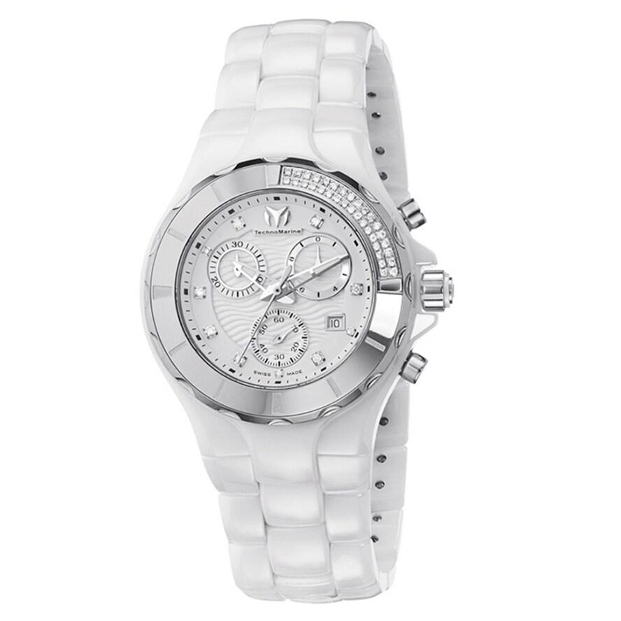 Technomarine Women's Ceramic White Diamond Dial 110031C C...