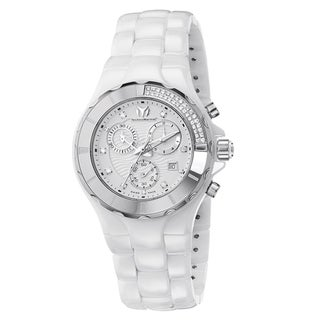 Technomarine Women's Ceramic White Diamond Dial 110031C Cruise Chronograph Watch