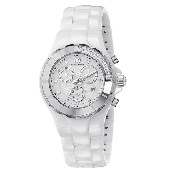 TechnoMarine Women's 'Cruise' Chronograph Diamond White Ceramic Watch