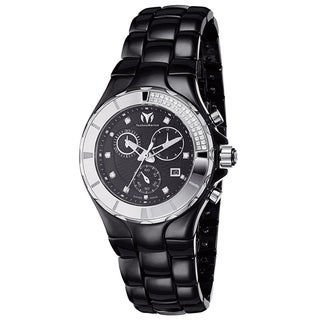 Technomarine Women's Ceramic Diamond 110029C Cruise Black Dial Chronograph Watch