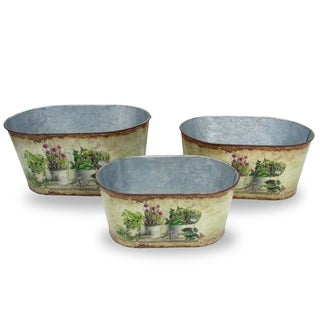 National Tree Company Tin Painted Flower Pots (Set of 3)