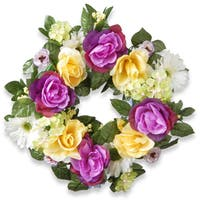 National Tree Company Daisies Roses and Hydrangeas 18-inch Wreath