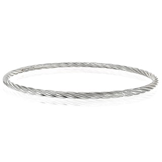 Mondevio High Polished Round Twist 3mm Bangle