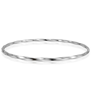 Mondevio High Polished Twisted 2mm Bangle