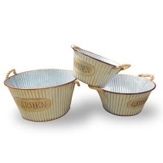 National Tree Company Tin 'Garden' Pots (Set of 3)