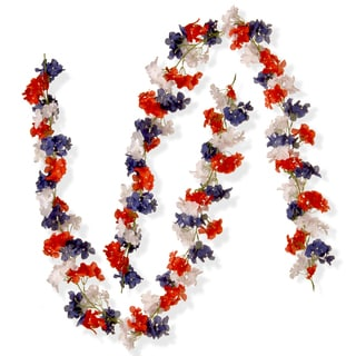 National Tree Company 72-inch Patriotic Hydrangea Garlands (Set of 2)