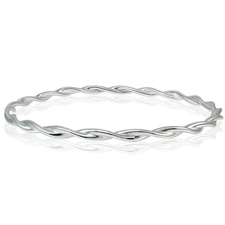 Mondevio High Polished Braid Twist 3mm Bangle