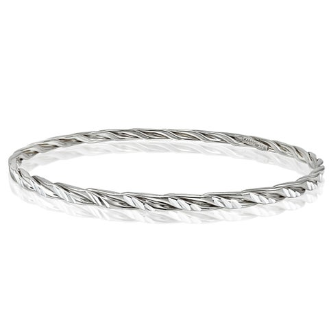 Mondevio High Polished Diamond-cut 3mm Bangle