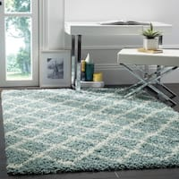 Safavieh Dallas Shag Light Blue/ Ivory Trellis Rug - 4' x 6'