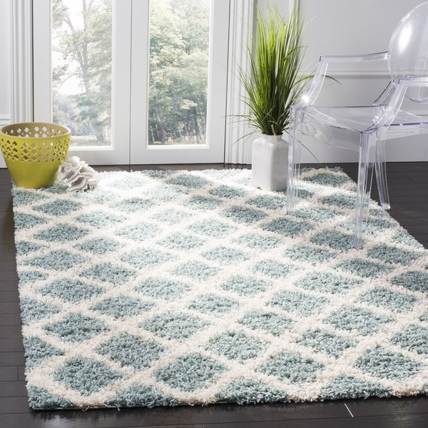 Safavieh Dallas Shag Light Blue Ivory Trellis Rug 4 X