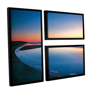 ArtWall Steve Ainsworth's Sea and Sand II, 3 Piece Floater Framed Canvas Flag Set