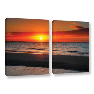 ArtWall Steve Ainsworth's Sunrise Over Sanibel , 2 Piece Gallery Wrapped Canvas Set