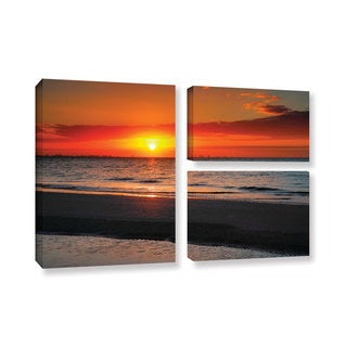 ArtWall Steve Ainsworth's Sunrise Over Sanibel , 3 Piece Gallery Wrapped Canvas Flag Set