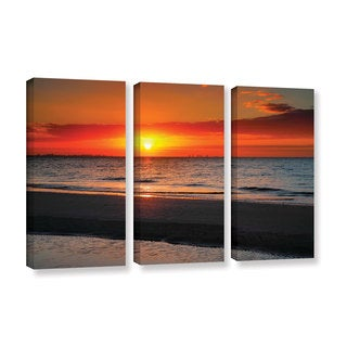 ArtWall Steve Ainsworth's Sunrise Over Sanibel , 3 Piece Gallery Wrapped Canvas Set