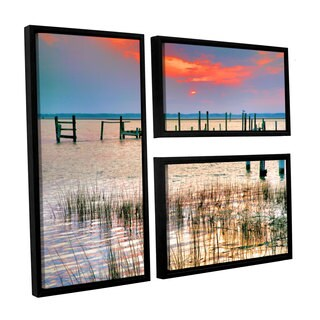 ArtWall Steve Ainsworth's Sunset Bay III, 3 Piece Floater Framed Canvas Flag Set