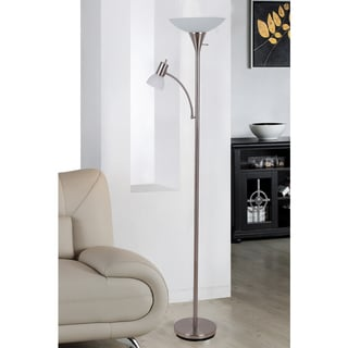 Porch & Den Roosevelt Row McKinley 70.7-inch Mother and Son Torchiere Floor Lamp with Frosted Glass Shade