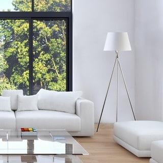 Roosevelt Row Villa 3 Way 59 Inch Brushed Steel Tripod Floor Lamp