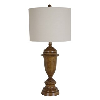 Catalina Metal Table Lamp with Faux Wood Finish and Round Hardback Shade