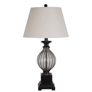 Catalina Led Metal and Clear Glass Table Lamp with Dark Brown Finish and Linen Shade