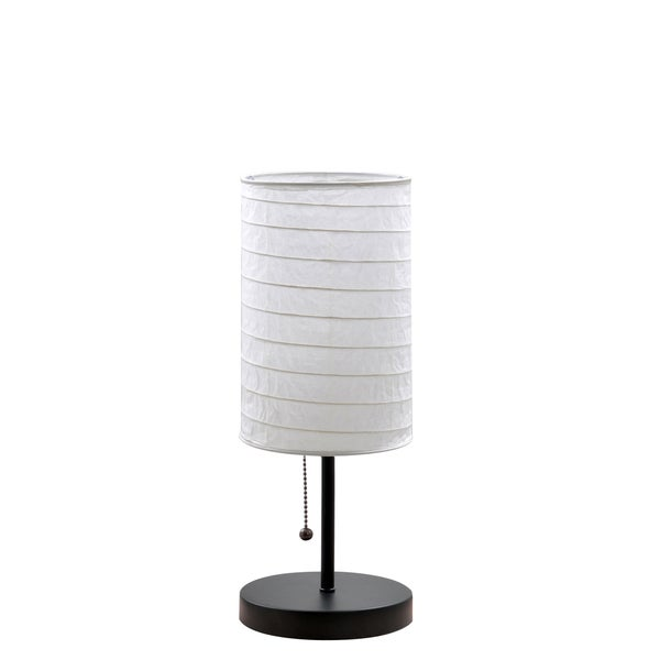 Catalina Paper Stick Black 15-inch Accent Lamp with Rice Paper Shade