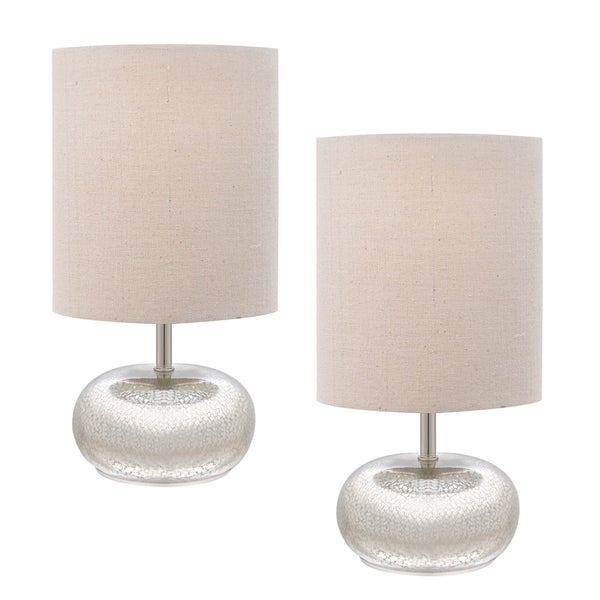 Catalina 12 Inch Mercury Glass Accent Lamps With Beige
