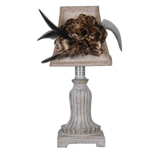 Catalina Ivory Decorative 11-inch Accent Lamp with Tan Fabric Feather Design Shade
