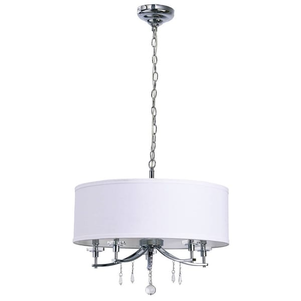 Catalina Chrome 5 Light 20 Inch White Fabric Pendant With Crystal Accents