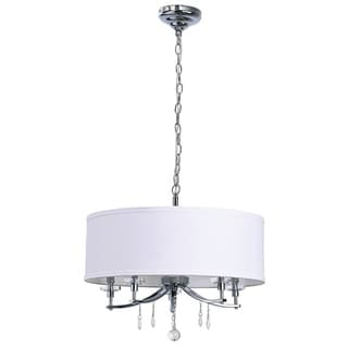 Catalina Chrome 5-light 20-inch White Fabric Pendant with Crystal Accents