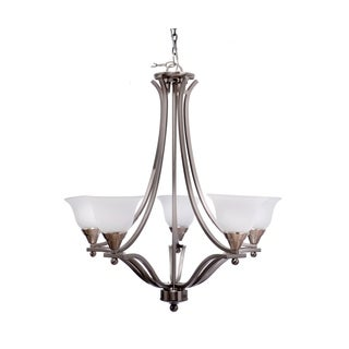 Catalina Brushed Nickel  5-light Frosted Glass Chandelier