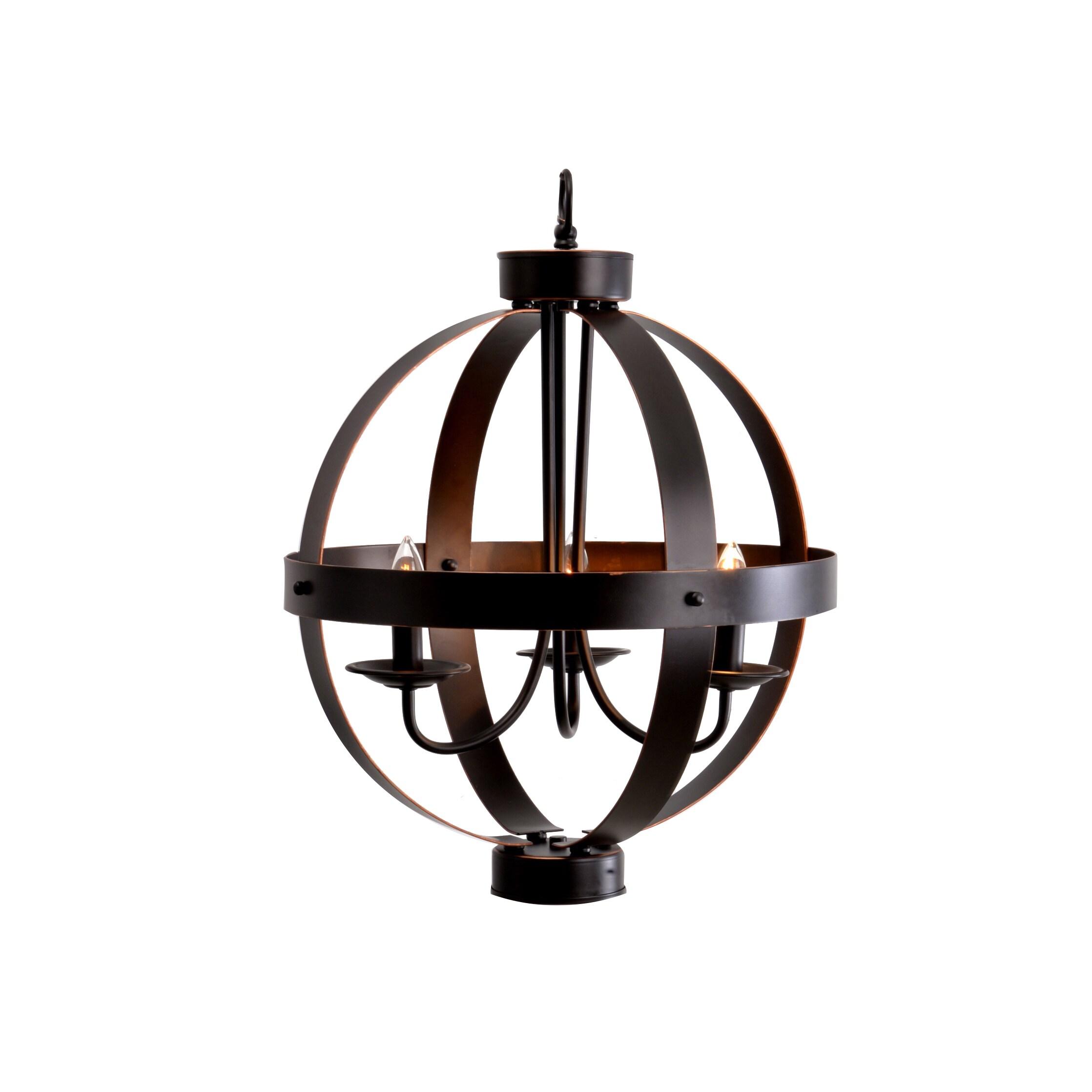 Carbon Loft Babbitt Bronze 3 Light Metal Orb Chandelier