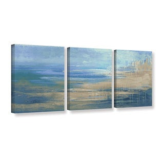 ArtWall Pied Piper's Blue And Green, 3 Piece Gallery Wrapped Canvas Set