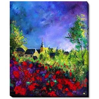 Pol Ledent 'Poppies in Villers' Framed Fine Art Print on Canvas