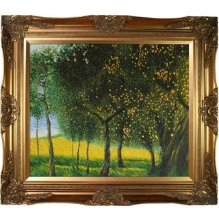 Gustav Klimt 'Fruit Trees, 1901' (Luxury Line) Hand Painted Framed Canvas Art