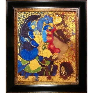 Odilon Redon 'Woman Among the Flowers, 1910' (Luxury Line) Hand Painted Framed Canvas Art