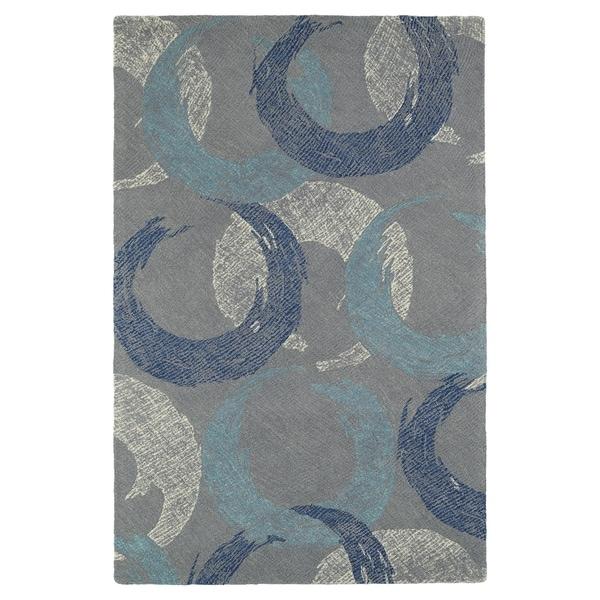 Hand-Tufted Mi Casa Grey Circles Rug (3'6 x 5'6) - 3'6 x 5'6'