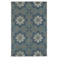 Hand-Tufted Mi Casa Grey Floral Medallion Rug - 9' x 12'