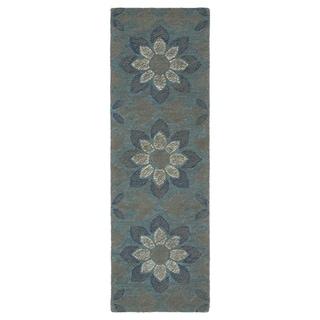 Hand-Tufted Mi Casa Grey Floral Medallion Rug (2'6 x 8')