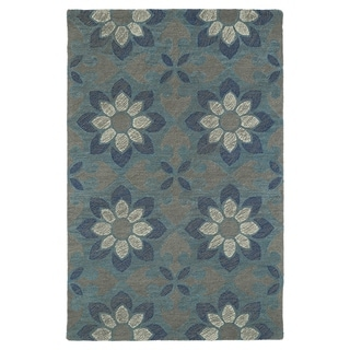 Hand-Tufted Mi Casa Grey Floral Medallion Rug (8'0 x 10'0)