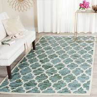 Safavieh Handmade Himalaya Turquoise/ Ivory Geometric Wool Area Rug - 5' x 8'