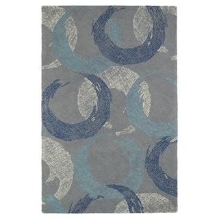 Hand-Tufted Mi Casa Grey Circles Rug (5'0 x 7'9)