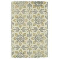Hand-Tufted Mi Casa Ivory Floral Medallion Rug - 3'6 x 5'6