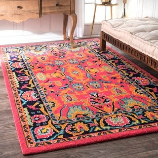 nuLOOM Vibrant Floral Persian Pink Rug (9' x 12')