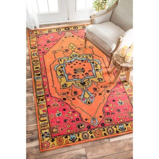 nuLOOM Overdyed Floral Border Oriental Wool Orange Rug (7'6 x 9'6)