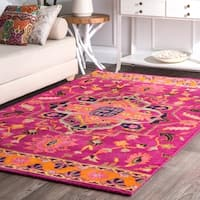 nuLOOM Overdyed Persian Palace Wool Maroon Rug - 5' x 8'