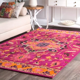 nuLOOM Overdyed Persian Palace Wool Maroon Rug (7'6 x 9'6)
