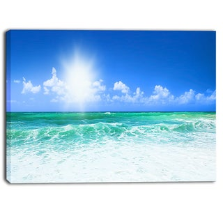 Designart - Beautiful Blue Beach - Seascape Photography Canvas Print