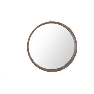 Sunjoy Recycled Fir Wood 29.13-inch Round Mirror with Barrel Border