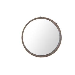 Sunjoy Recycled Fir Wood 29.13-inch Round Mirror with Barrel Border