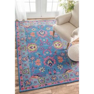 nuLOOM Handmade Overdyed Traditional Wool Blue Rug (5' x 8')